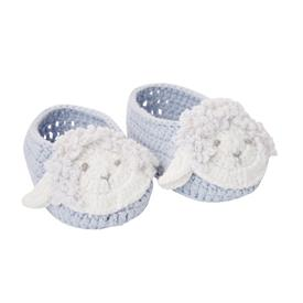 -:BLUE LAMB HAND-CROCHETED BABY BOOTIES. 100% COTTON KNIT. FITS 0-12 MONTHS. MACHINE WASH COLD, TUMBLE DRY LOW.