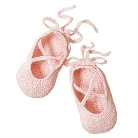 -:PINK BALLERINA HAND-CROCHETED BABY BOOTIES. 100% COTTON KNIT. FITS 0-12 MONTHS. MACHINE WASH COLD, TUMBLE DRY LOW.