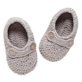 """-:GRAY HAND-CROCHETED BABY BOOTIES. 100"""" COTTON KNIT. FITS 0-12 MONTHS. MACHINE WASH COLD, TUMBLE DRY LOW."""
