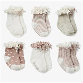 -,FANCY PINK NON-SLIP BABY SOCKS. 6-PACK. SIZE 0-12 MONTHS. COTTON, NYLON, SPANDEX BLEND. MACHINE WASH COLD, TUMBLE DRY LOW.