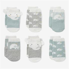 -,ELEPHANT PRINCE NON-SLIP BABY SOCK 6-PACK. SIZE 0-12 MONTHS. COTTON, NYLON, SPANDEX BLEND. MACHINE WASH COLD, TUMBLE DRY LOW.