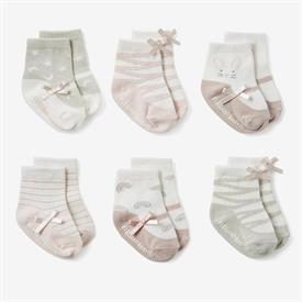 -,PINK MARY JANE NON-SLIP BABY SOCK 6-PACK. SIZE 0-12 MONTHS. COTTON, NYLON, SPANDEX BLEND. MACHINE WASH COLD, TUMBLE DRY LOW.