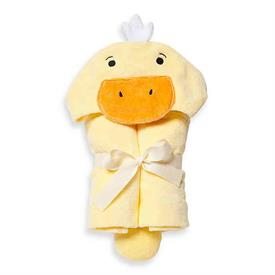 """-,YELLOW DUCKIE HOODED BATH WRAP. 100% COTTON VELOUR TERRY. 23""""X31"""". MACHINE WASH COLD, TUMBLE DRY LOW."""
