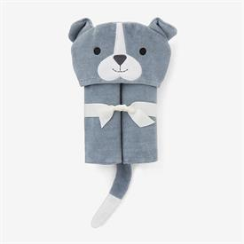 """-,SLATE PUPPY HOODED BABY BATH WRAP. 100% COTTON VELOUR TERRY. 23""""X31"""". MACHINE WASH COLD, TUMBLE DRY LOW."""