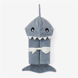 """-,SLATE BABY SHARK HOODED BATH WRAP. 100% COTTON VELOUR TERRY. 23"""" X 31"""". MACHINE WASH COLD, TUMBLE DRY LOW."""