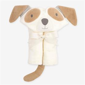 """-,TAN PUPPY HOODED BABY BATH WRAP. 10% COTTON VELOUR TERRY. 23"""" X 31"""". MACHINE WASH COLD, TUMBLE DRY LOW"""