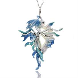 _,RAINBOW FISH SCULPTED PORCELAIN PENDANT NECKLACE. RHODIUM PLATED BRASS.