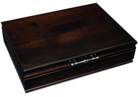 -$,TRADITIONS MAHOGANY FLATWARE CHEST MSRP $249.95 Holds up to 150 pieces up to a service of 12 including 12 knives & butters
