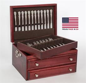 -$,PRESIDENTIAL MAHOGANY SINGLE DRAWER FLATWARE CHEST WITH LIFT-OUT TRAY.