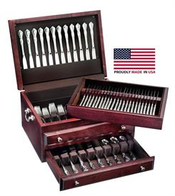 -$,PRESIDENTIAL MAHOGANY TWO DRAWER FLATWARE CHEST WITH LIFT-OUT TRAY.