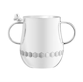 "-,2-HANDLED BABY CUP. SILVER PLATED. 3.14"" TALL"
