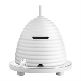 """-,BEEHIVE MONEY BANK. SILVER PLATED & WOOD. 5.2"""" WIDE"""