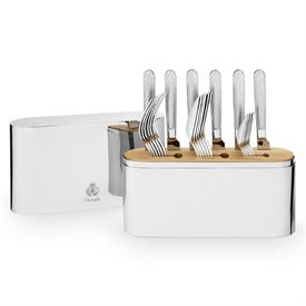 """-,24-PIECE STAINLESS STEEL FLATWARE SET WITH CASE. CONTAINS SERVICE FOR 6. CASE MEASURES 10.25"""" TALL"""