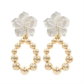 """-,JASMINE EARRINGS. CARVED MOTHER OF PEARL FLOWERS SUSPEND A TEARDROP OF GOLDEN BEADS. POST BACK. 2"""" LONG"""