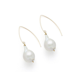 """-,LAUREL EARRINGS IN GOLD. WHITE BAROQUE PEARLS SUSPENDED FROM 14K GOLD FILLED EAR WIRES. 2.2"""" LONG. ALL PEARLS WILL VARY IN SHAPE."""