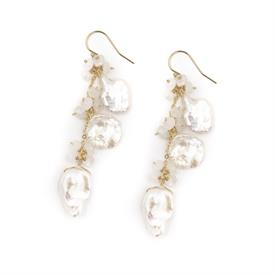 "-,ELIZABETH TRIPLE LENGTH EARRINGS. WHITE KESHI PEARLS DRESSED WITH FRESH WATER PEARLS & MOONSTONES ON 14K GOLD PLATED WIRE. 2.55"" LONG"