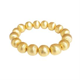 -,MARGARET BRACELET. 22K GOLD PLATED BRASS BEADS ON ELASTIC. 12MM BEADS. IDEAL FOR STACKING. THE IDEAL BALANCE OF CLASSY & STATEMENT.