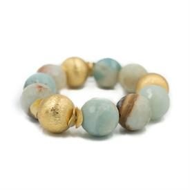 -,ADDISON BRACELET IN WATERCOLOR AGATE WITH BRUSHED VERMEIL BEADS. 20MM AGATE BEADS. ELASTIC.
