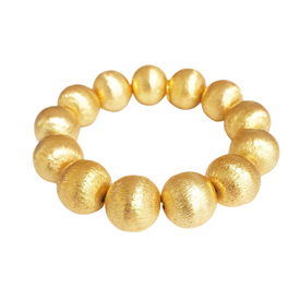 -,MARGARET LARGE BEAD BRACELET. 22K GOLD PLATED BRASS BEADS ON AN ELASTIC BAND. 16MM BEADS.