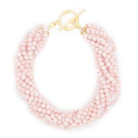"-,MURPHY NECKLACE IN BUBBLEGUM PINK. 9-STRAND PINK JADE NECKLACE WITH TOGGLE CLOSURE. 16"" LONG WITH 1.5"" TOGGLE."