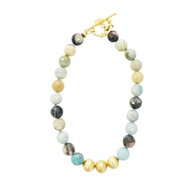 "-,COLLIER NECKLACE IN WATERCOLOR AGATE. 22MM WATERCOLOR AGATE BEADS WITH 22K GOLD PLATED BRASS BEAD ACCENTS. TOGGLE CLOSURE. 18"" LONG"