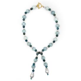 "-,PORTO NECKLACE IN TURQUOISE. APATITE, AQUAMARINE & GREY PEARL BEADED LARIAT NECKLACE WITH TOGGLE CLOSURE. 19"" LONG WITH 4"" DROP"