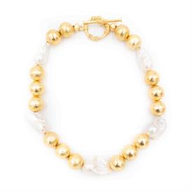 "-,ANNABELLE NECKLACE IN WHITE. WHITE BAROQUE PEARLS WITH 22K GOLD PLATED BRASS BEADS & A TOGGLE CLOSURE. 16"" LONG WITH 1.5"" TOGGLE."