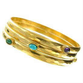 """-,SET OF 3 HAMMERED GOLD PLATED BANGLE BRACELETS WITH ASSORTED OVAL SEMIPRECIOUS STONE CABOCHONS. 2.5"""" WIDE AT CENTER."""