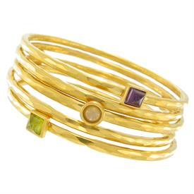 """-,SET OF 5 GOLD PLATED STACKING BANGLES WITH SQUARE & ROUND ASSORTED SEMI-PRECIOUS STONE ACCENTS. 2.5"""" WIDE AT CENTER."""
