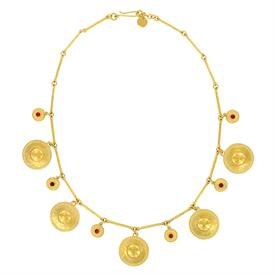 "-,GOLD PLATED HAMMERED DISK NECKLACE WITH CARNELIAN CABOCHONS. ADJUSTABLE FROM 19.5"" TO 20.5"" LONG"