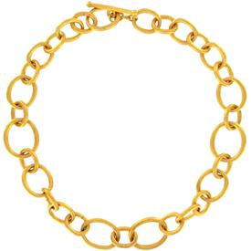 "-,GOLD PLATED HAMMERED CHUNKY LINK NECKLACE WITH TOGGLE CLOSURE. 19.5"" LONG."