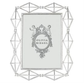 """_,5X7"""" SILVER XANDER FRAME. SILVER FINISHED CAST PEWTER HAND-SET WITH EUROPEAN CRYSTALS."""