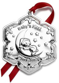 "_,Baby's First Christmas Sterling Silver Christmas Ornament made by Empire in USA ""Bear on Moon"" 2.75"" Wide by 3.25"" MARK DOWN WAS $99.99"