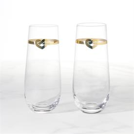 -2-PIECE STEMLESS TOASTING FLUTE SET. GLASS. HAND WASH ONLY. 9 OZ. CAPACITY. BREAKAGE REPLACEMENT AVAILABLE.
