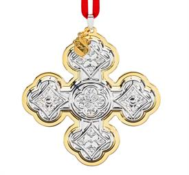 """-Christmas Cross 50TH EDT 2020 sterling silver ornament made by Reed & Barton in USA 3.5"""" SKU# 890653 MSRP $175 2 Tone with accent Gold Pl"""