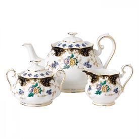 -1910 3-PIECE TEA SET, DUCHESS. INCLUDES TEAPOT, COVERED SUGAR BOWL & CREAMER. HAND WASH.
