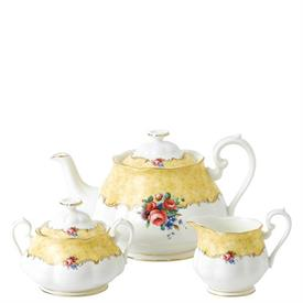 -1990 3-PIECE TEA SET. INCLUDES TEAPOT, CREAMER & SUGAR BOWL