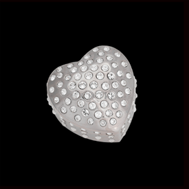 "-,PLATINUM SEMPRE HEART TRINKET BOX. 'FOREVER HEART' BOX MEASURES 3"" WIDE. HAND-SET WITH SWAROVSKI CRYSTALS."