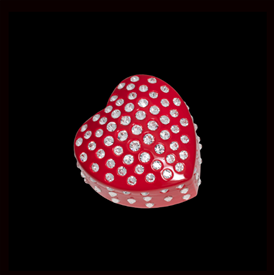 "-,RED SEMPRE HEART TRINKET BOX. 'FOREVER HEART' BOX MEASURES 3"" WIDE. HAND-SET WITH SWAROVSKI CRYSTALS."