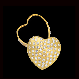 "-,GOLD SEMPRE HEART TRINKET BOX. 'FOREVER HEART' BOX MEASURES 3"" WIDE. HAND-SET WITH SWAROVSKI CRYSTALS."