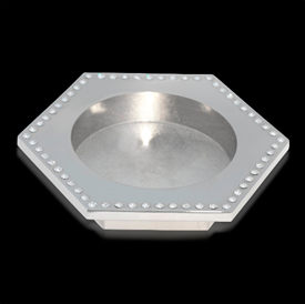 "-,PLATINUM HEXAGON WINE BOTTLE COASTER. 7.1"" WIDE"