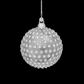 -,PLATINUM 'ORBIS' GLOBE CHRISTMAS ORNAMENT. FEATURES 316 CARATS OF SWAROVSKI CHATONS.