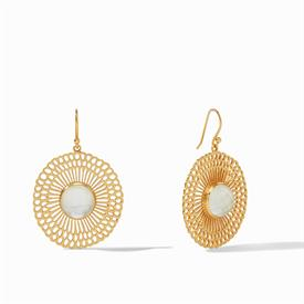 """-,IRIDESCENT CLEAR LACE EARRINGS. A RADIANT ROSE CUT GLASS GEMSTONE SET IN A 24K GOLD PLATED CUTOUT OF SHINING BEAMS. 1.75"""" LONG"""
