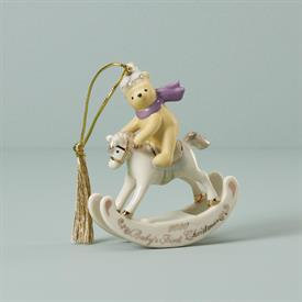 ":2020 WINNIE THE POOH BABY'S FIRST CHRISTMAS ORNAMENT. 3.5"" LONG, 4"" TALL. MSRP $70.00"