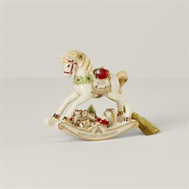 """-:2020 ROCKING HORSE BABY'S FIRST CHRISTMAS ORNAMENT. 4"""" LONG, 3.5"""" TALL. MSRP $80.00"""
