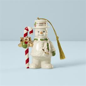 """-:,2020 CANDY CANE SNOWMAN ORNAMENT. 4.25"""" TALL, 3.12"""" WIDE. MSRP $66.00"""