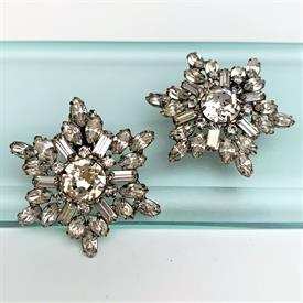 """,SIGNED WEISS LARGE STAR/SNOWFLAKE SHAPED CLIP-ON EARRINGS WITH CLEAR RHINESTONES. 1.6"""" WIDE"""