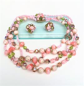 ",1960'S VENDOME NECKLACE & CLIP-ON EARRING SET IN SHADES OF PINK & GREEN. NECKLACE, 16"" LONG. EARRINGS, 1"" WIDE"