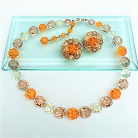",1950'S MARVELLA ORANGE, YELLOW & TOPAZ CRYSTAL NECKLACE & CLIP-ON EARRING SET. NECKLACE, 14""-16"" LONG. EARRINGS, 1"" WIDE"