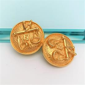 """,FENDI CLIP-ON EARRINGS WITH SCALES. GREAT FOR LIBRA ZODIAC OR LEGAL PROFESSIONALS. 1.2"""" WIDE"""